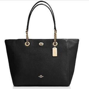 COACH black pebble leather turnlock tote purse bag